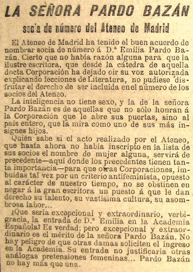 EMILIA PARDO BAZÁN E O ATENEO MADRILEÑO