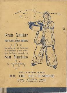IMAGEN: Autor Federico Ribas. Cartel publicitario de comida celebración 1938.