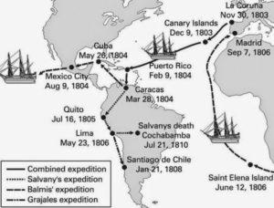 Itinerarios Real Expedición Filantrópica Vacuna.  Imagen en licencia CC
